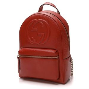 Authentic Gucci Soho Red Chain Backpack